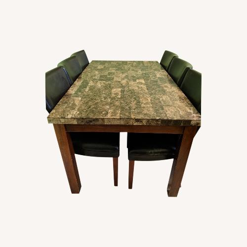 Used Brown Faux Marble-Top Dining Set for sale on AptDeco