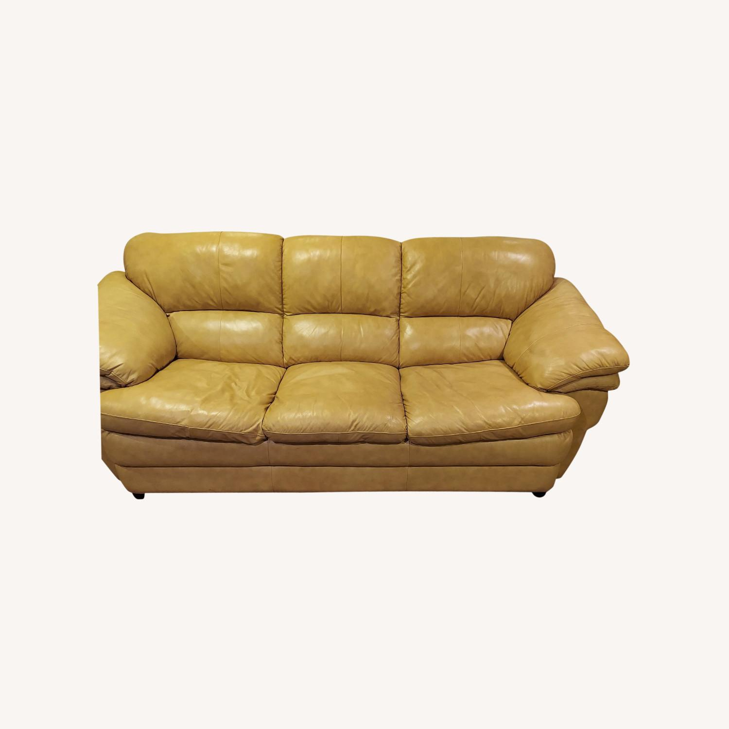Bob's Discount Natural Bonded Leather 3 Seater Sofa - image-0