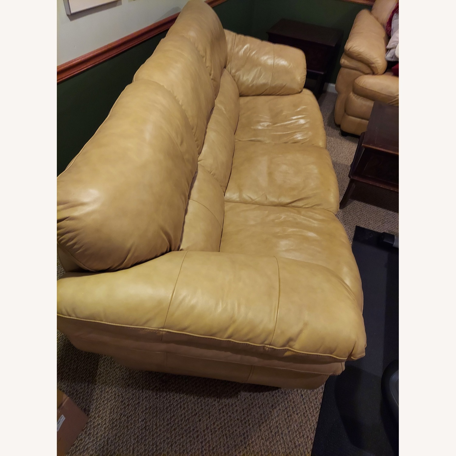 Bob's Discount Natural Bonded Leather 3 Seater Sofa - image-5