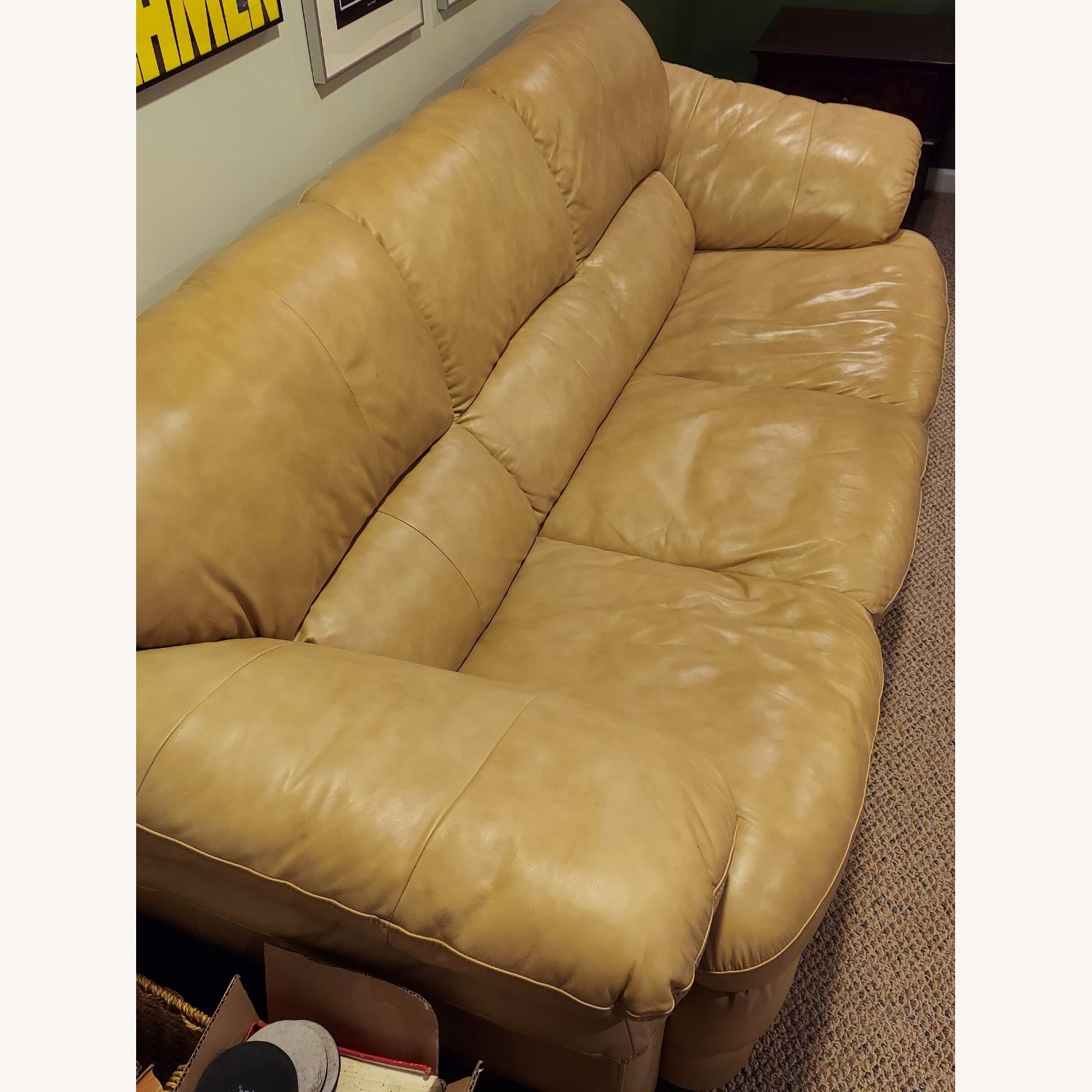 Bob's Discount Natural Bonded Leather 3 Seater Sofa - image-2