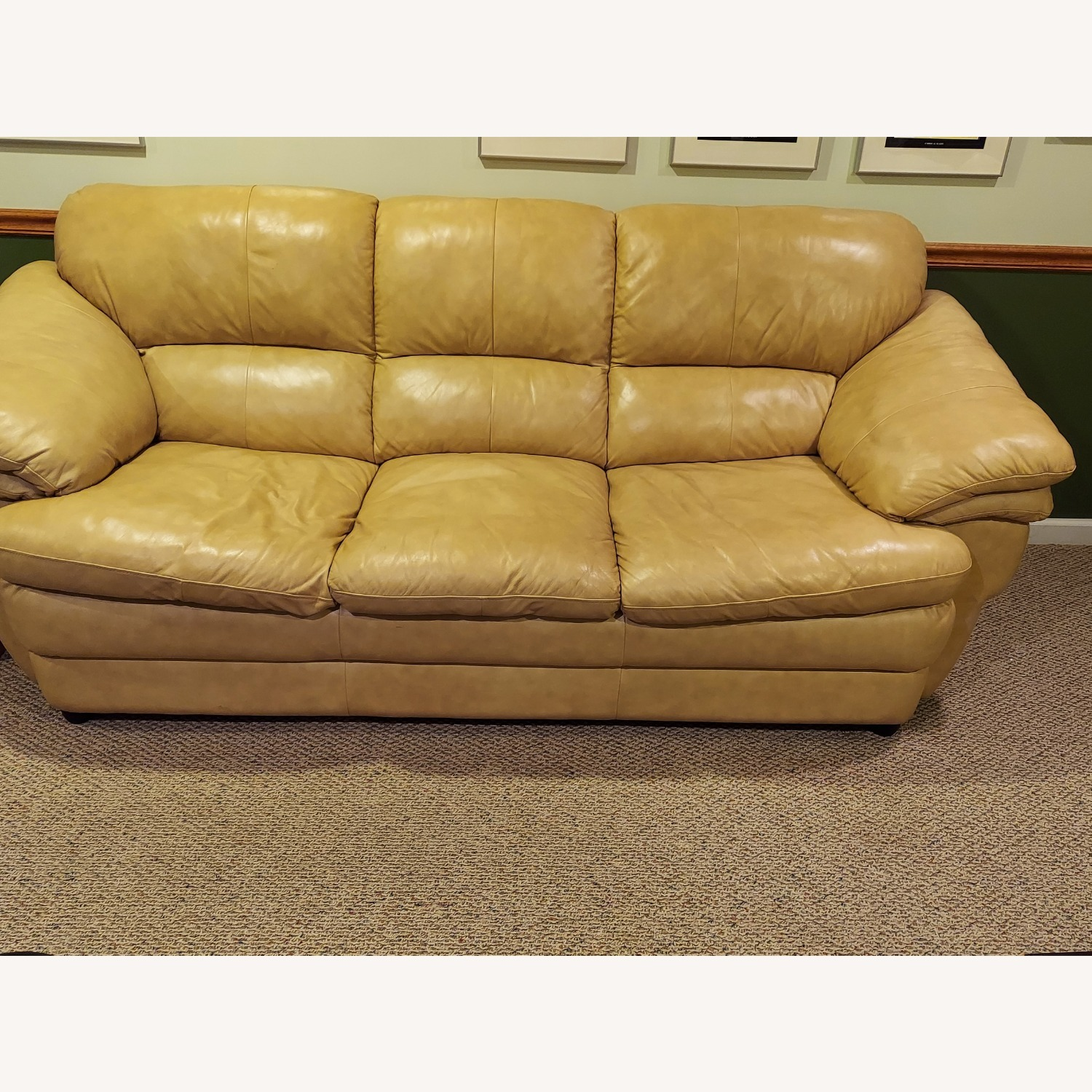 Bob's Discount Natural Bonded Leather 3 Seater Sofa - image-1