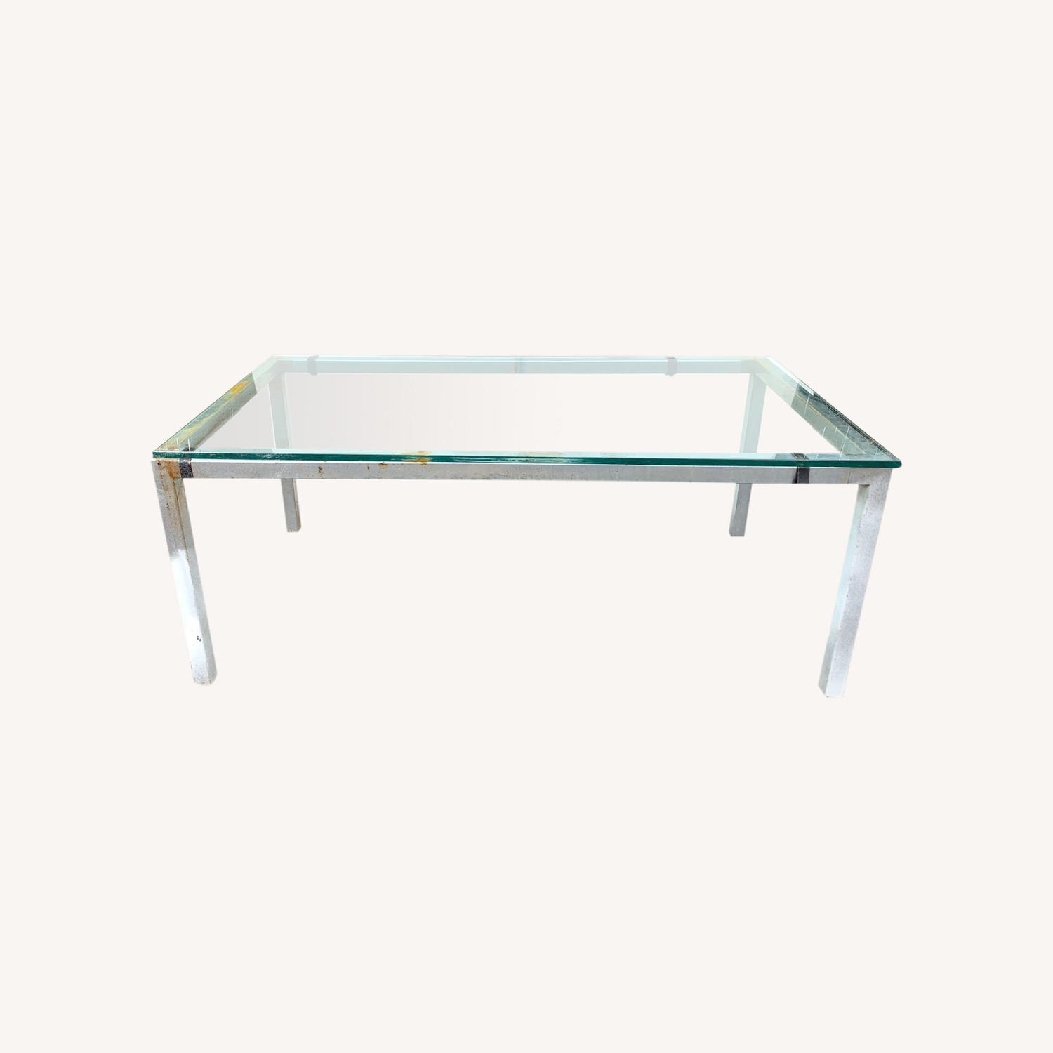 Glass Top Metal Dining Table Desk, Meeting Table - image-0