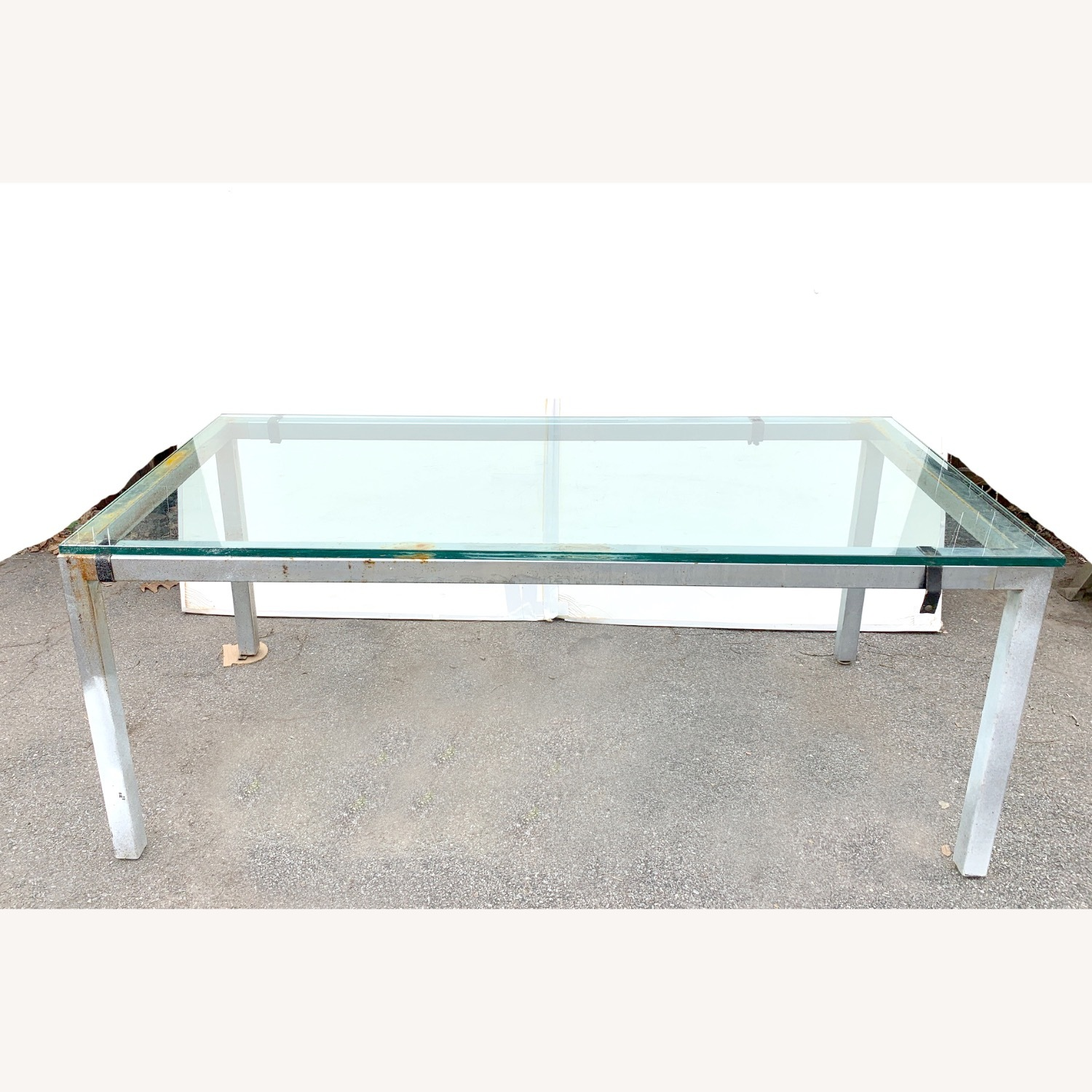 Glass Top Metal Dining Table Desk, Meeting Table - image-1