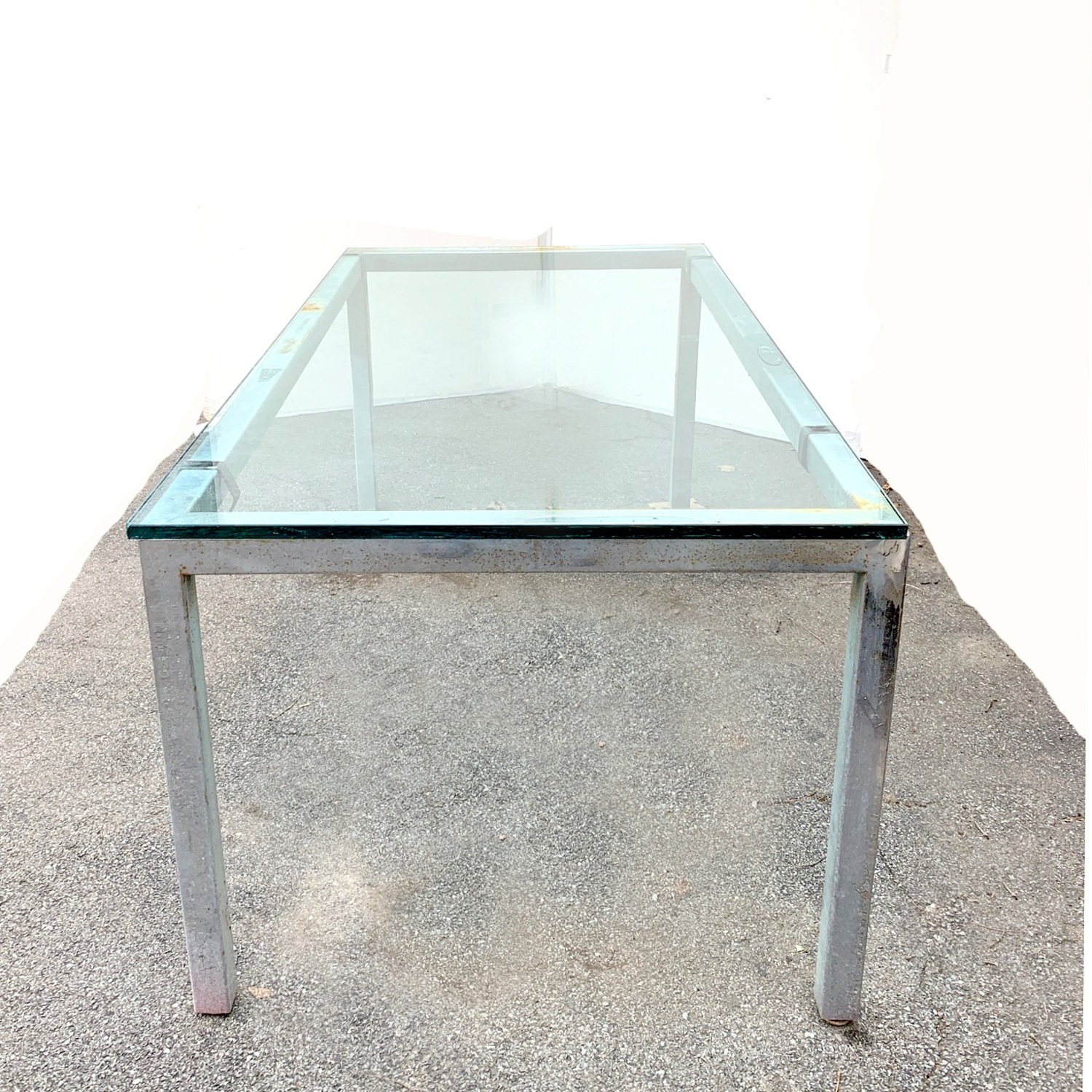 Glass Top Metal Dining Table Desk, Meeting Table - image-2