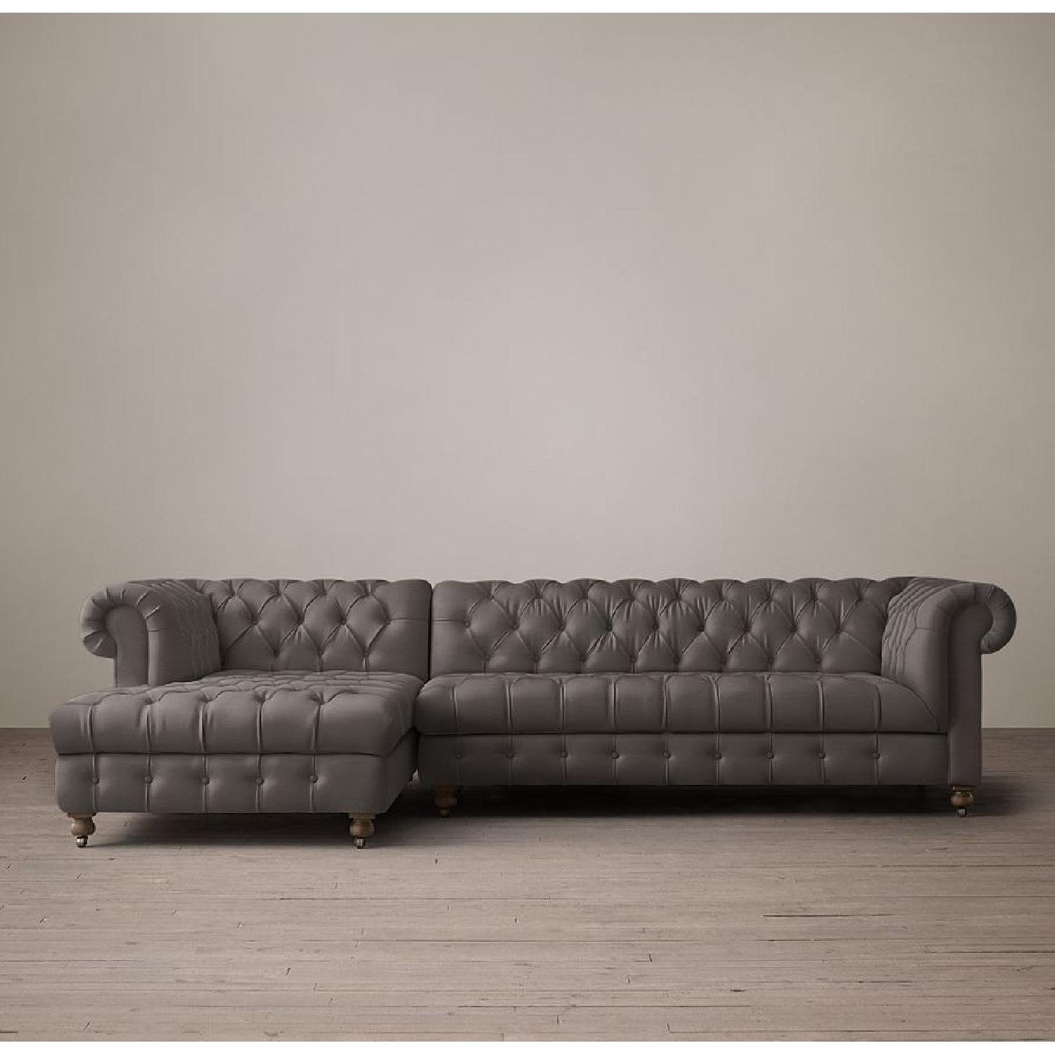Restoration Hardware Tufted Linen Sectional Couch - image-4