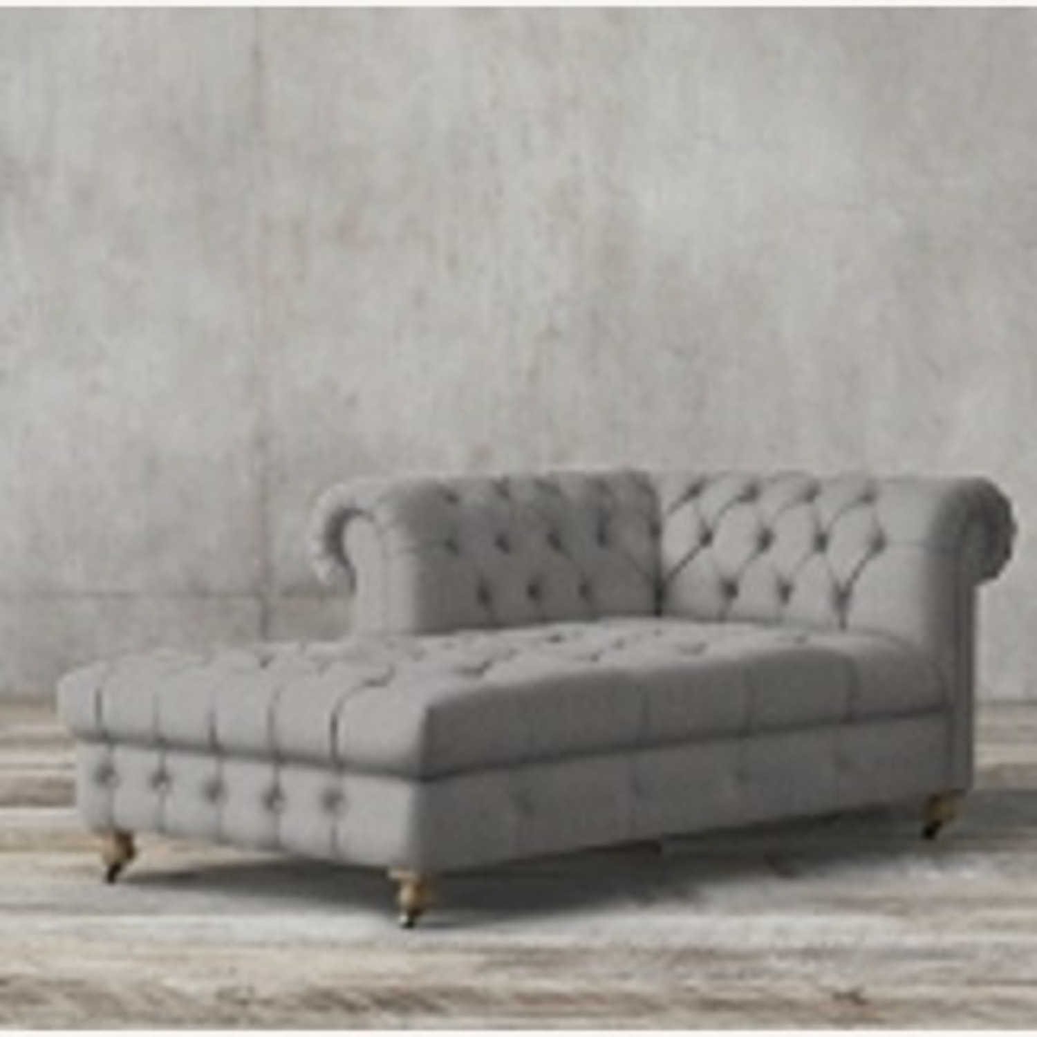 Restoration Hardware Tufted Linen Sectional Couch - image-3