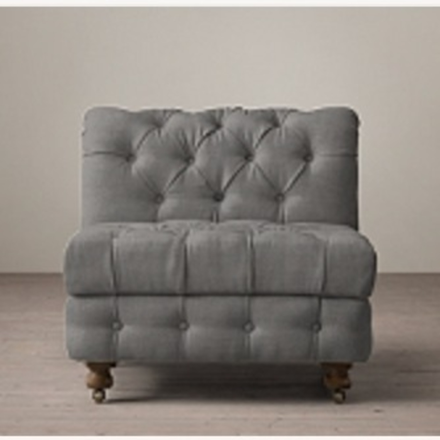 Restoration Hardware Tufted Linen Sectional Couch - image-1