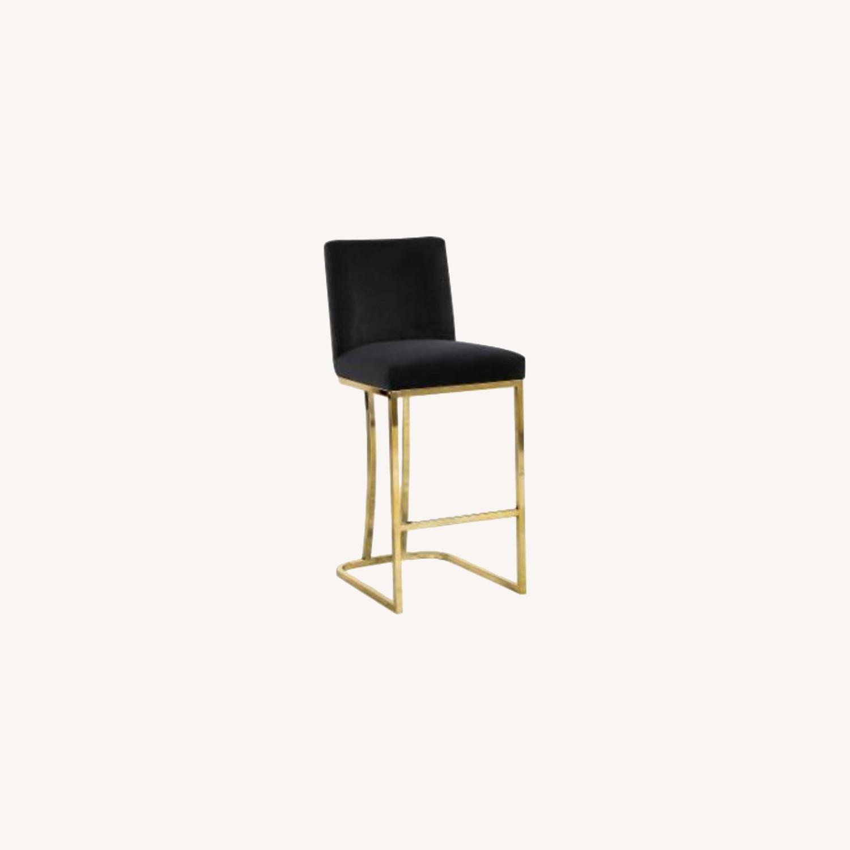 Hayneedle Black Velvet & Gold Counter Stools Set of 2. - image-0