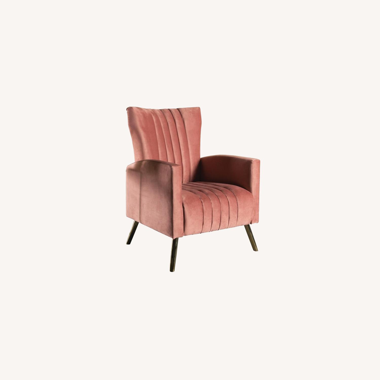 Accent Chair In Rose Velvet Upholstery & Gold Legs - image-3
