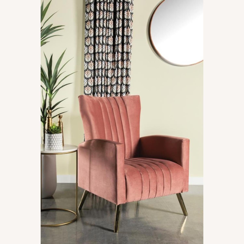 Accent Chair In Rose Velvet Upholstery & Gold Legs - image-1