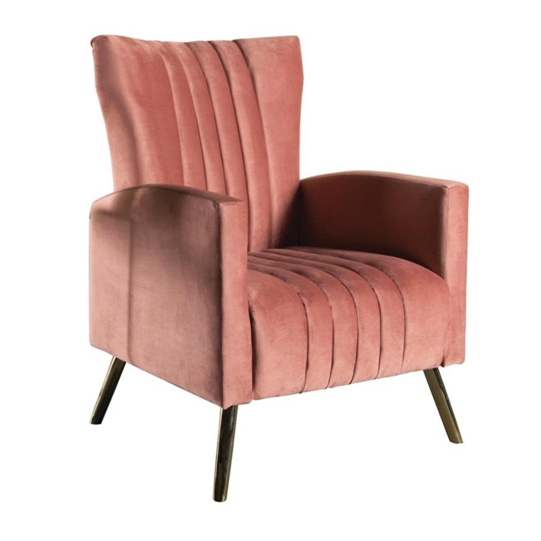 Accent Chair In Rose Velvet Upholstery & Gold Legs - image-0