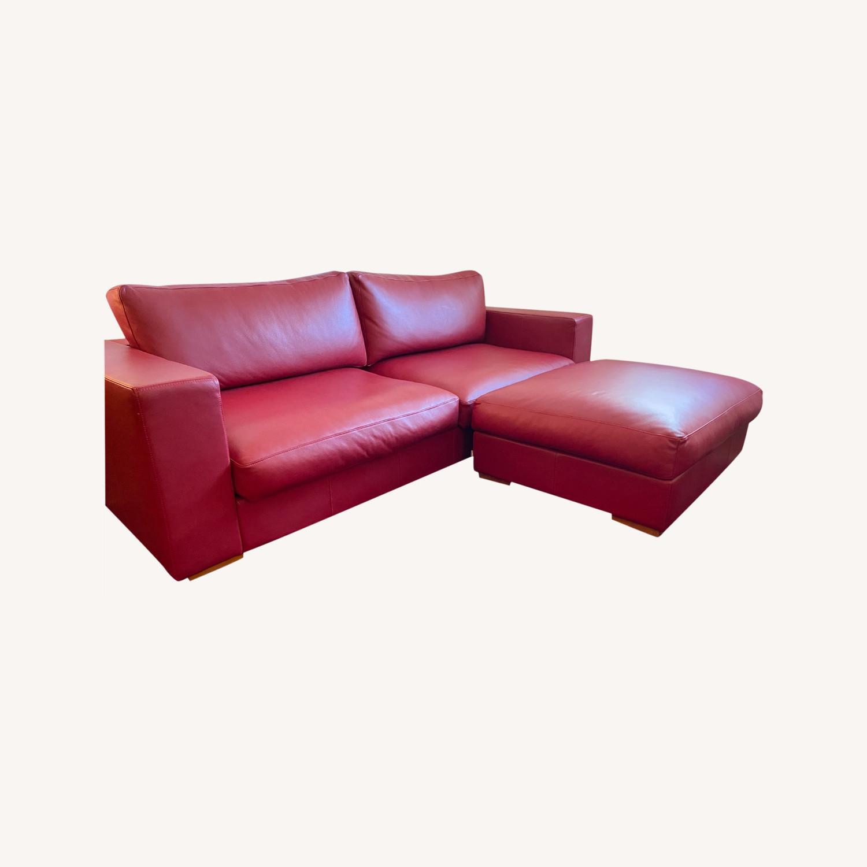 BoConcept Red Leather Cenova Sofa with Ottoman - image-0