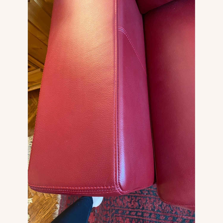 BoConcept Red Leather Cenova Sofa with Ottoman - image-6