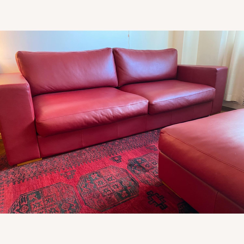 BoConcept Red Leather Cenova Sofa with Ottoman - image-3