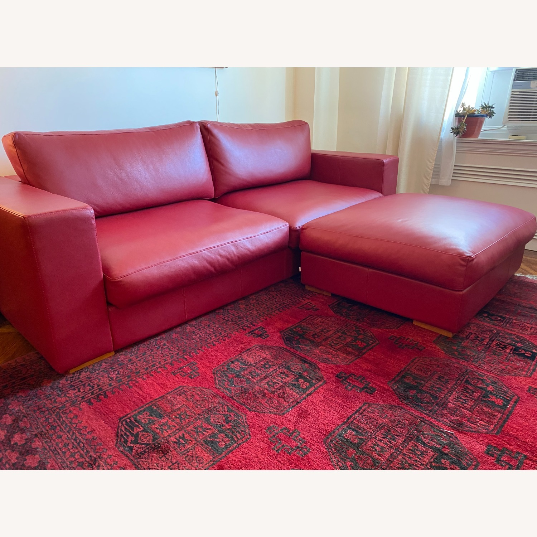 BoConcept Red Leather Cenova Sofa with Ottoman - image-1