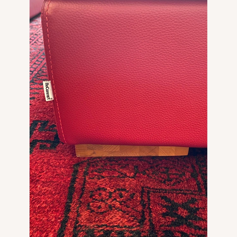 BoConcept Red Leather Cenova Sofa with Ottoman - image-5
