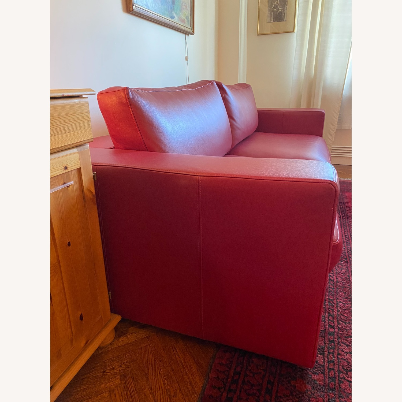 BoConcept Red Leather Cenova Sofa with Ottoman - image-2