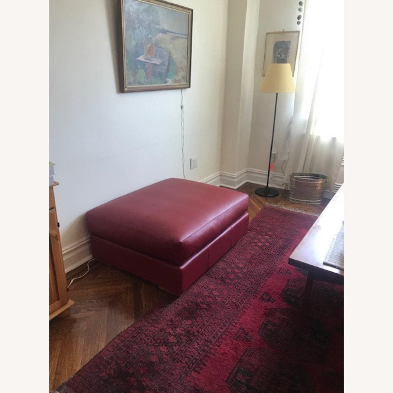 BoConcept Red Leather Cenova Sofa with Ottoman - image-4