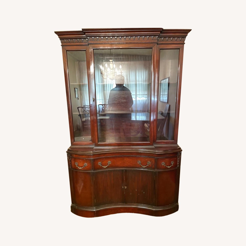 Antique 1930s Solid Mahogany China Cabinet - image-0