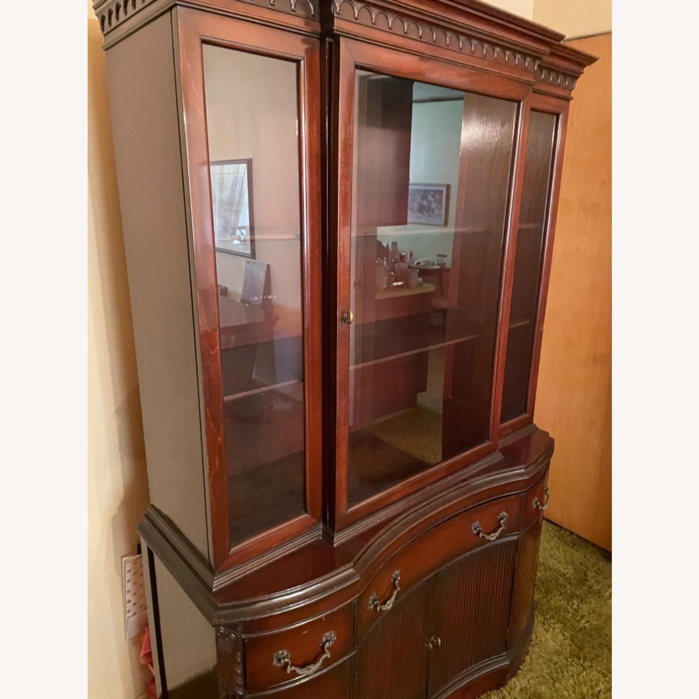 Antique 1930s Solid Mahogany China Cabinet - image-10