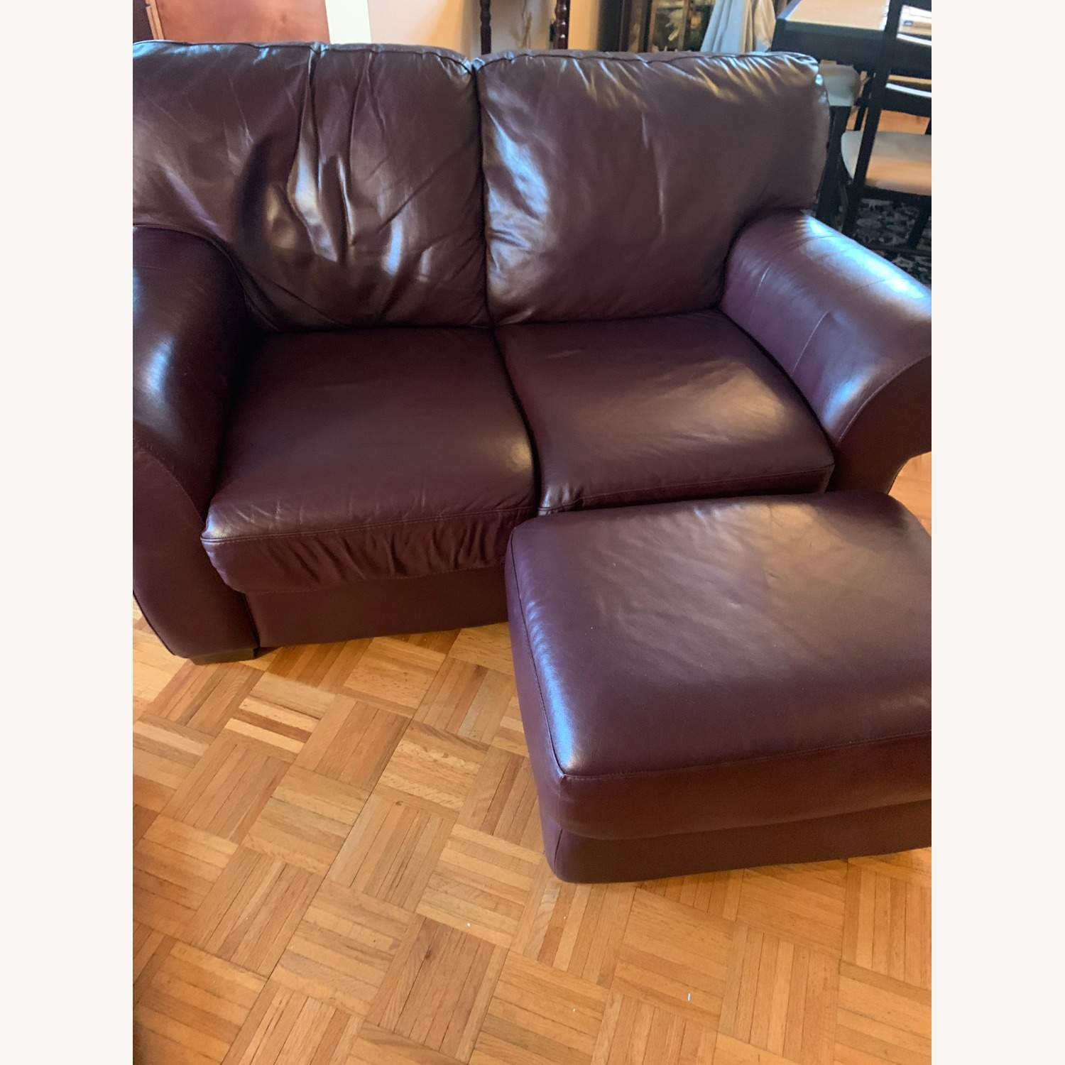 100% Leather Loveseat with Ottoman - image-0
