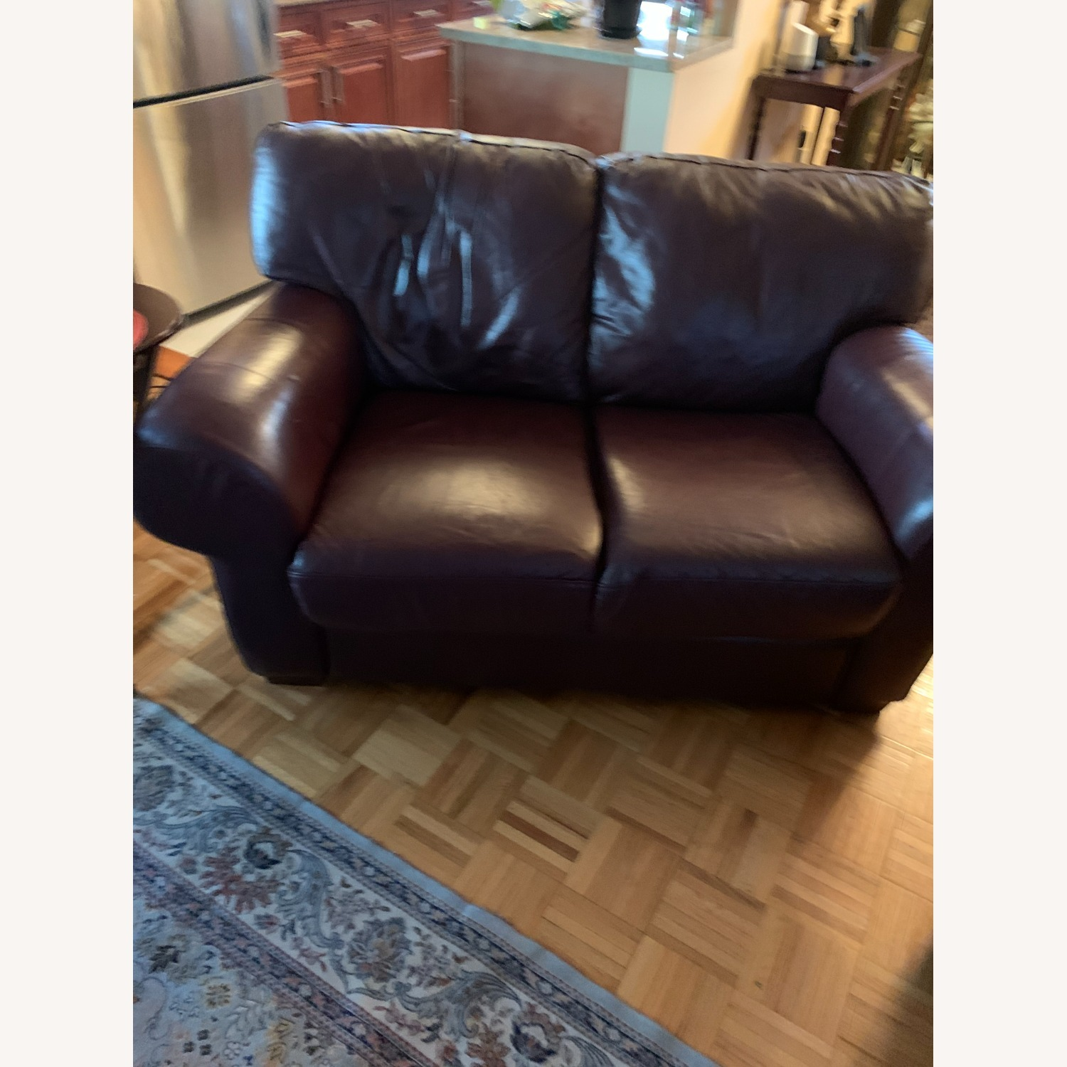100% Leather Loveseat with Ottoman - image-3