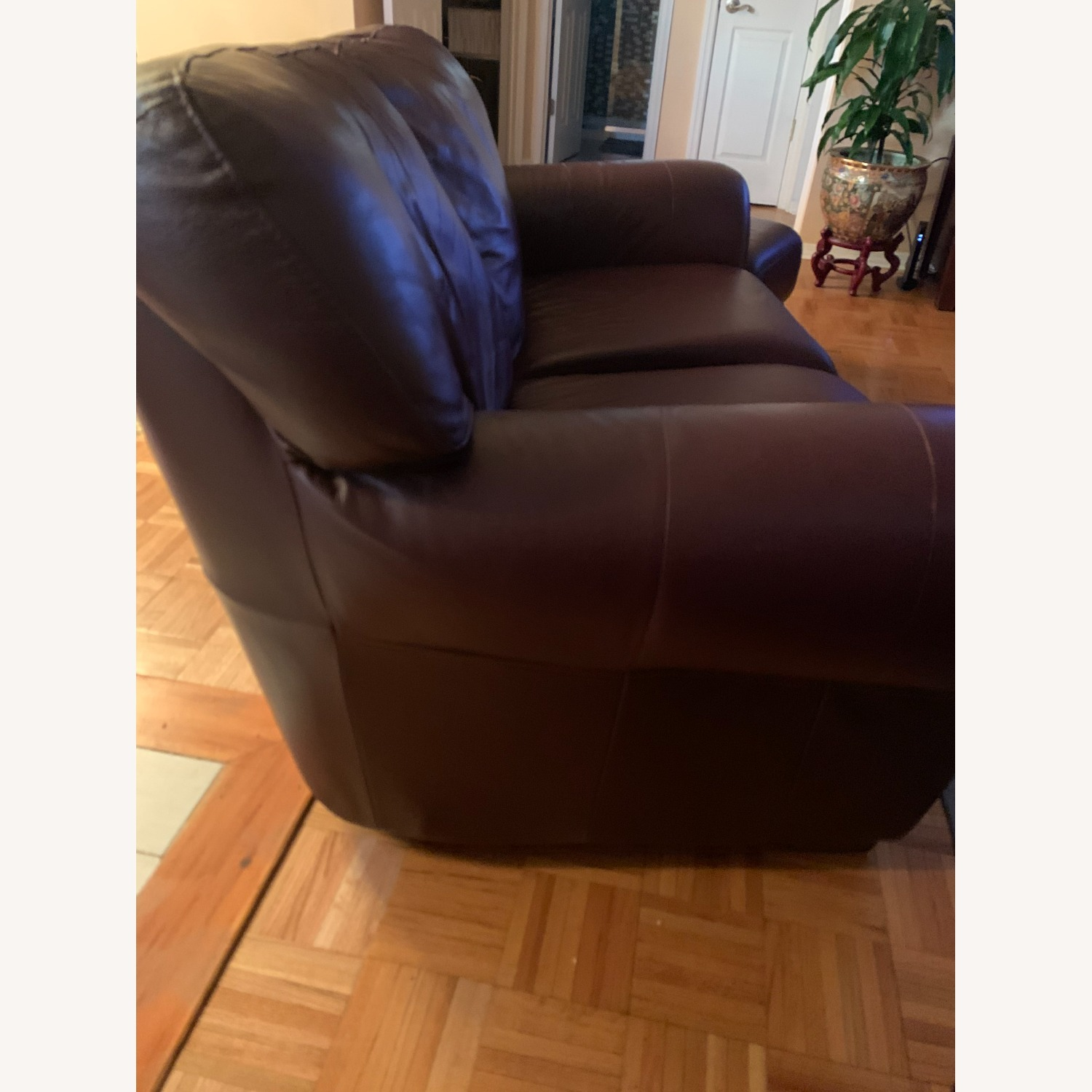 100% Leather Loveseat with Ottoman - image-1
