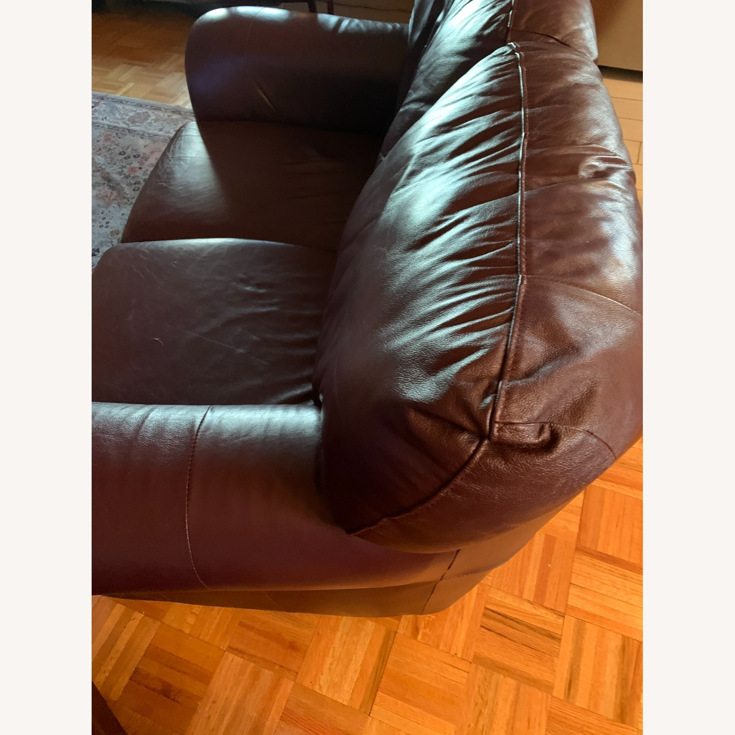 100% Leather Loveseat with Ottoman - image-2
