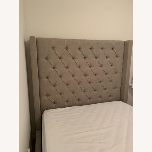 Used Tufted Grey Headboard for Queen Bed for sale on AptDeco