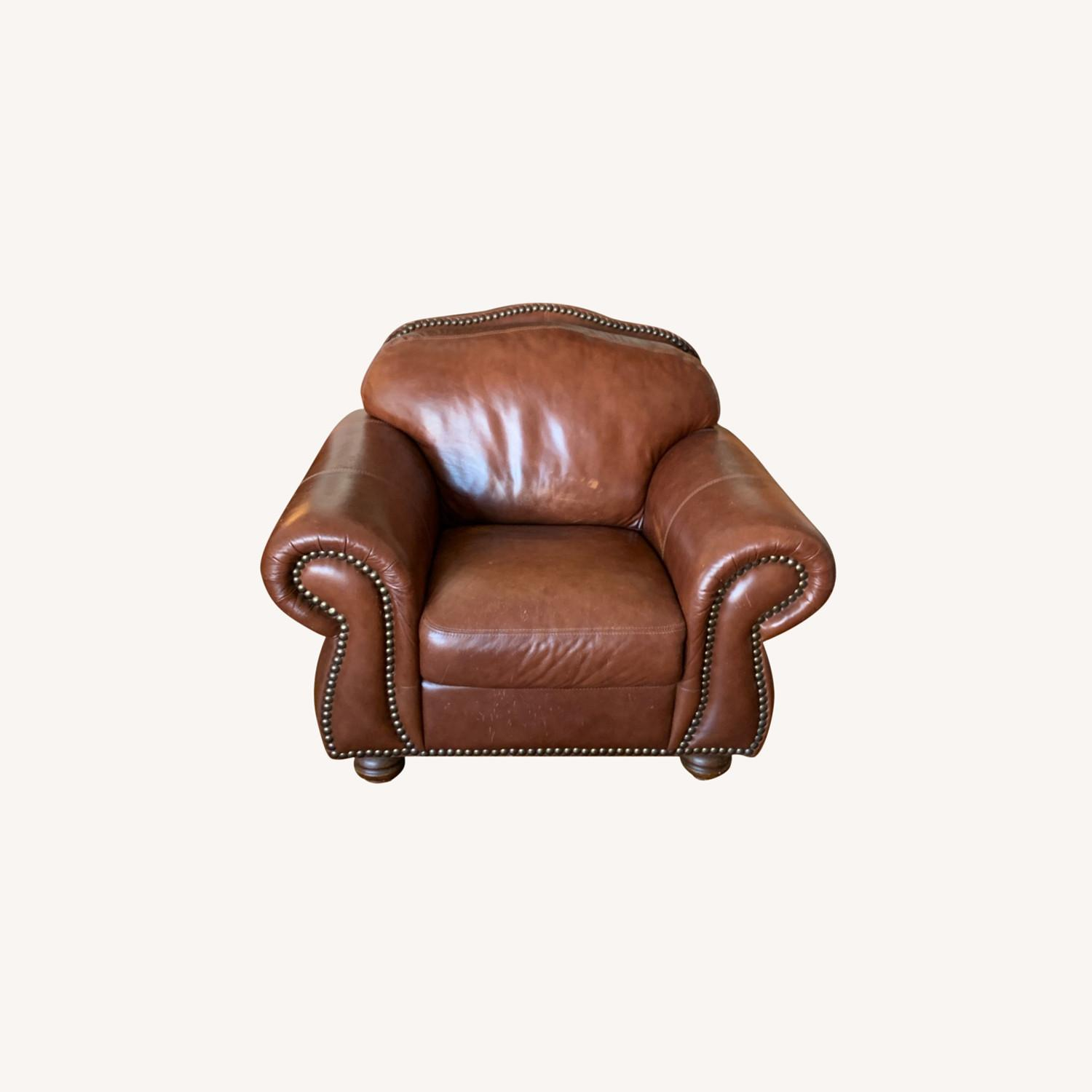 Macy's Dark Brown Leather Armchair - image-0