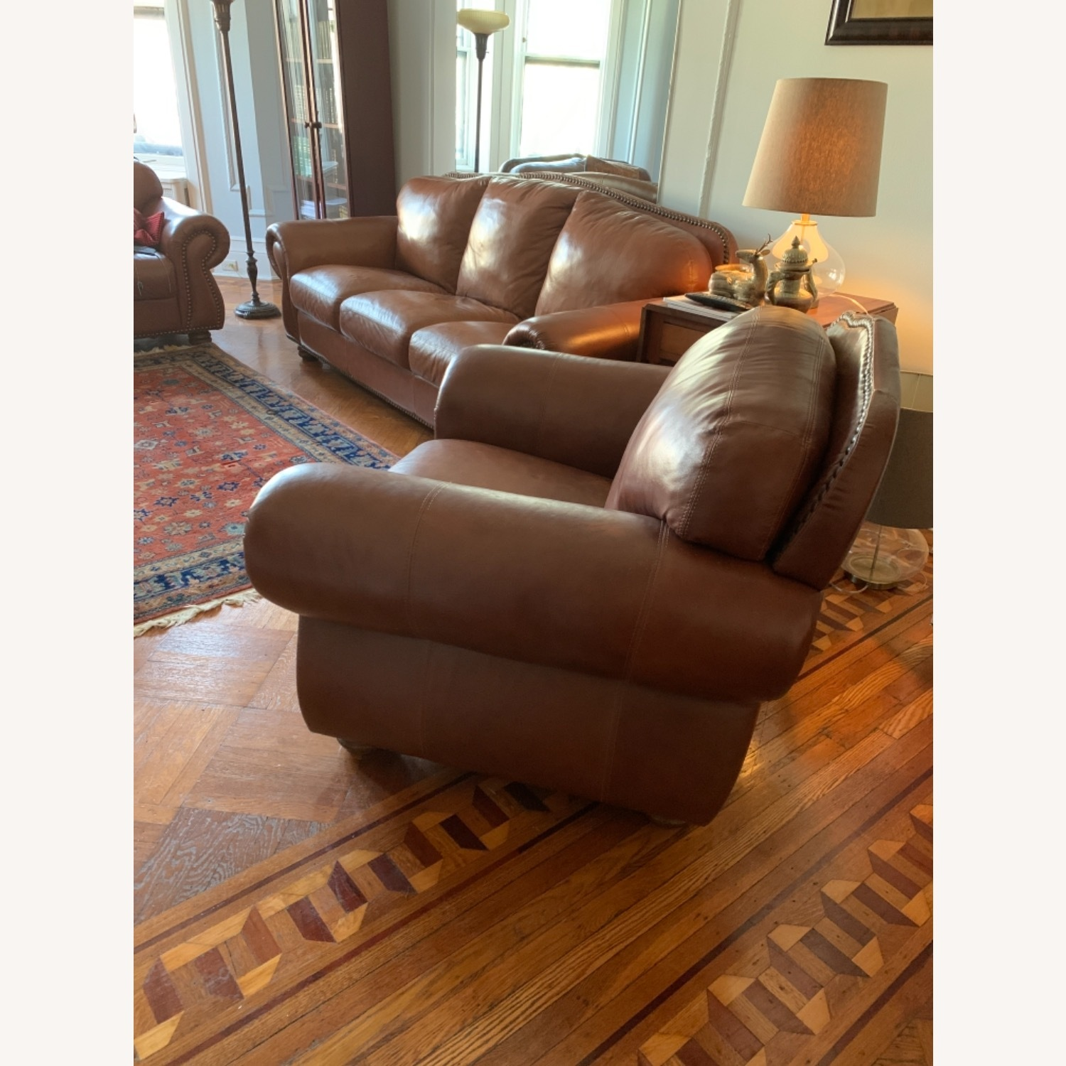 Macy's Dark Brown Leather Armchair - image-2