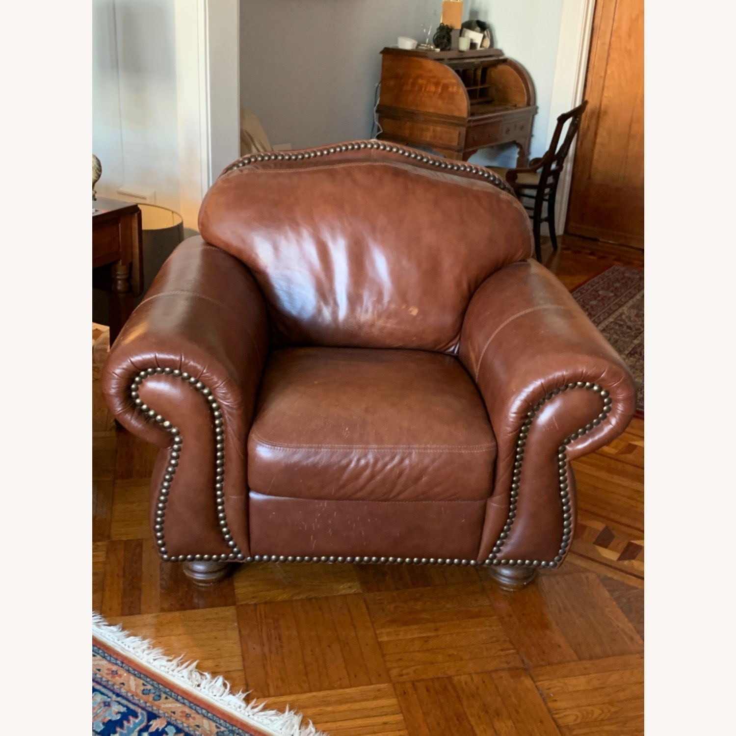 Macy's Dark Brown Leather Armchair - image-1