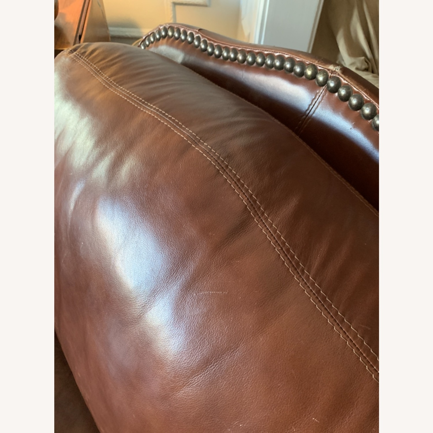 Macy's Dark Brown Leather Armchair - image-3