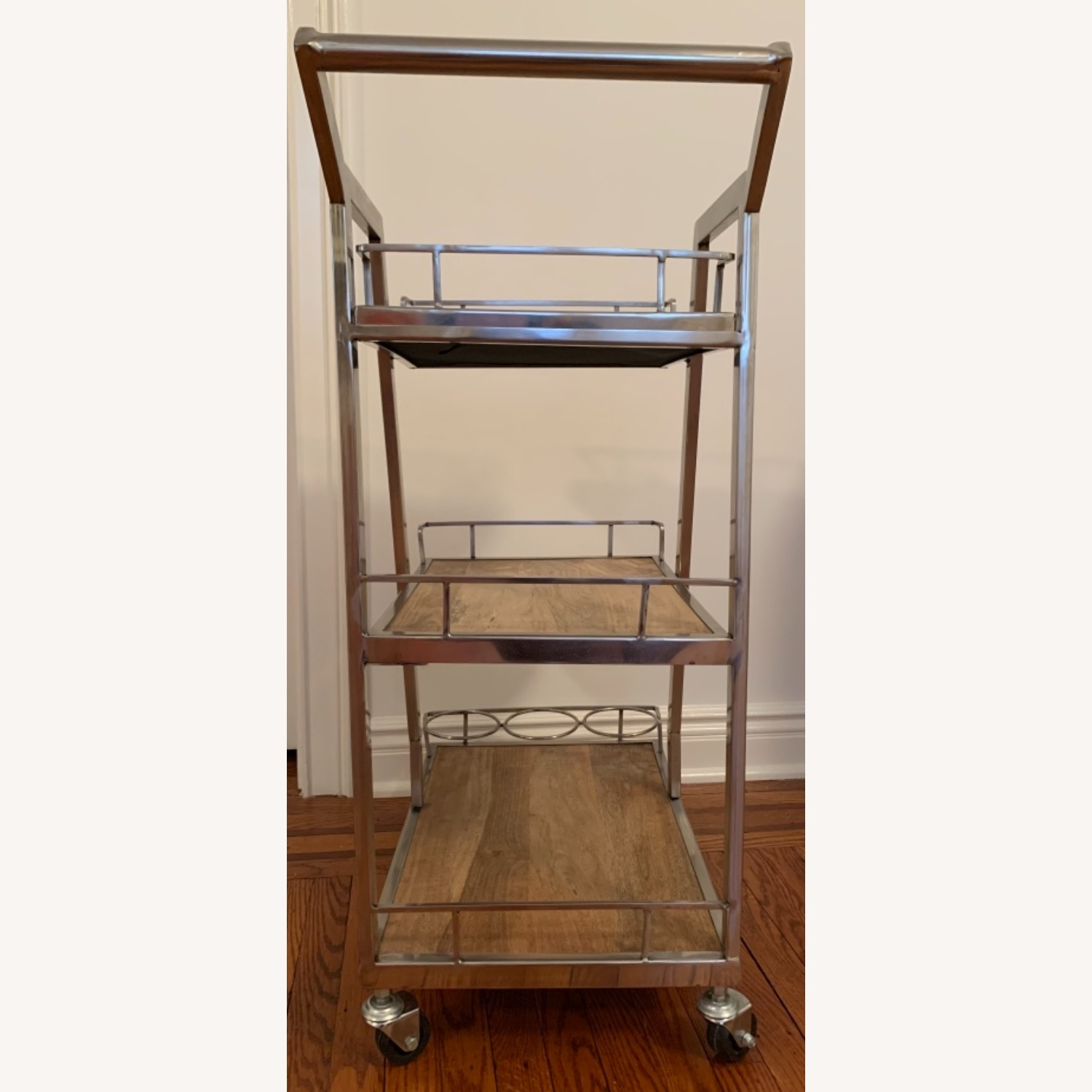 3 Tier Silver And Wood Bar Service Cart - image-4