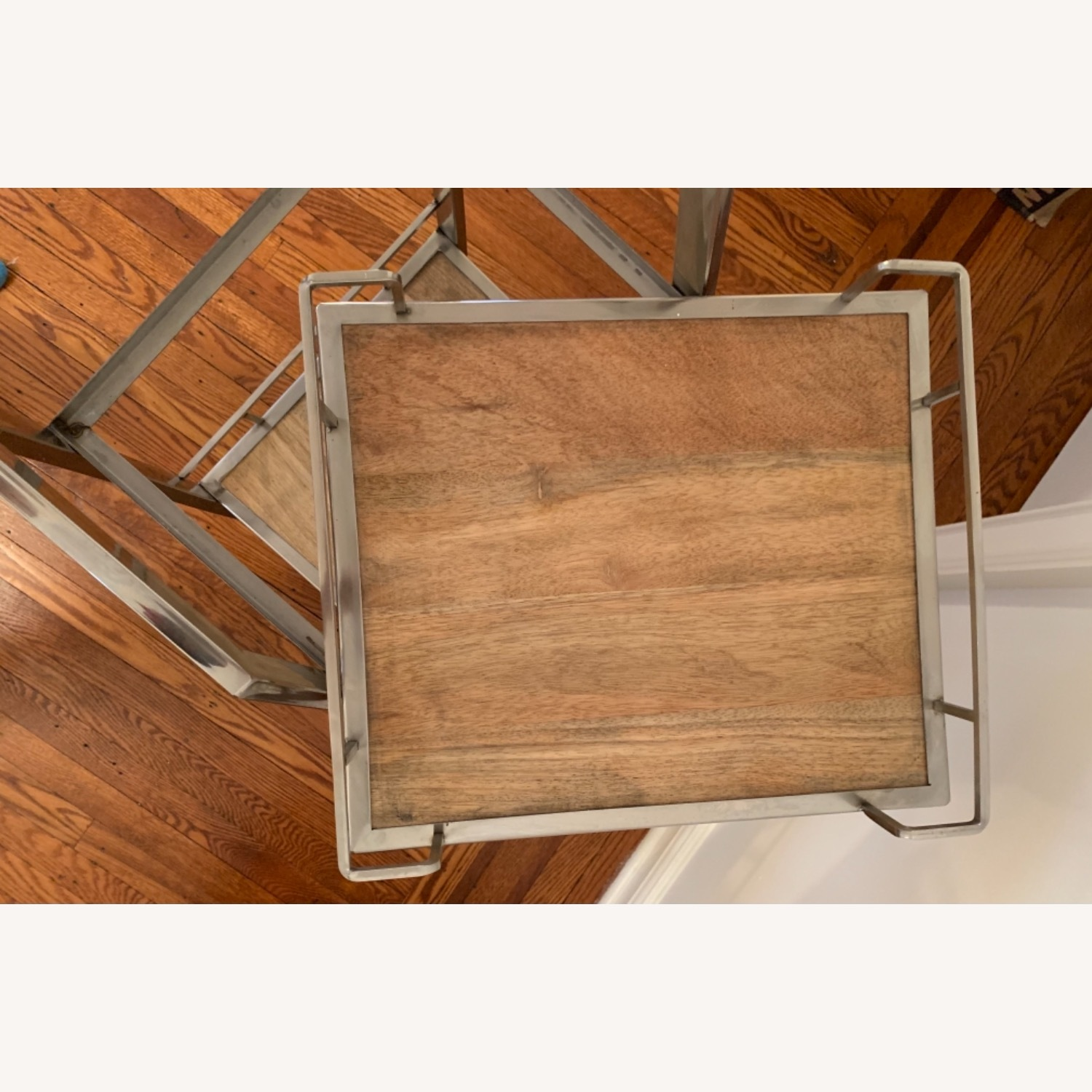 3 Tier Silver And Wood Bar Service Cart - image-5