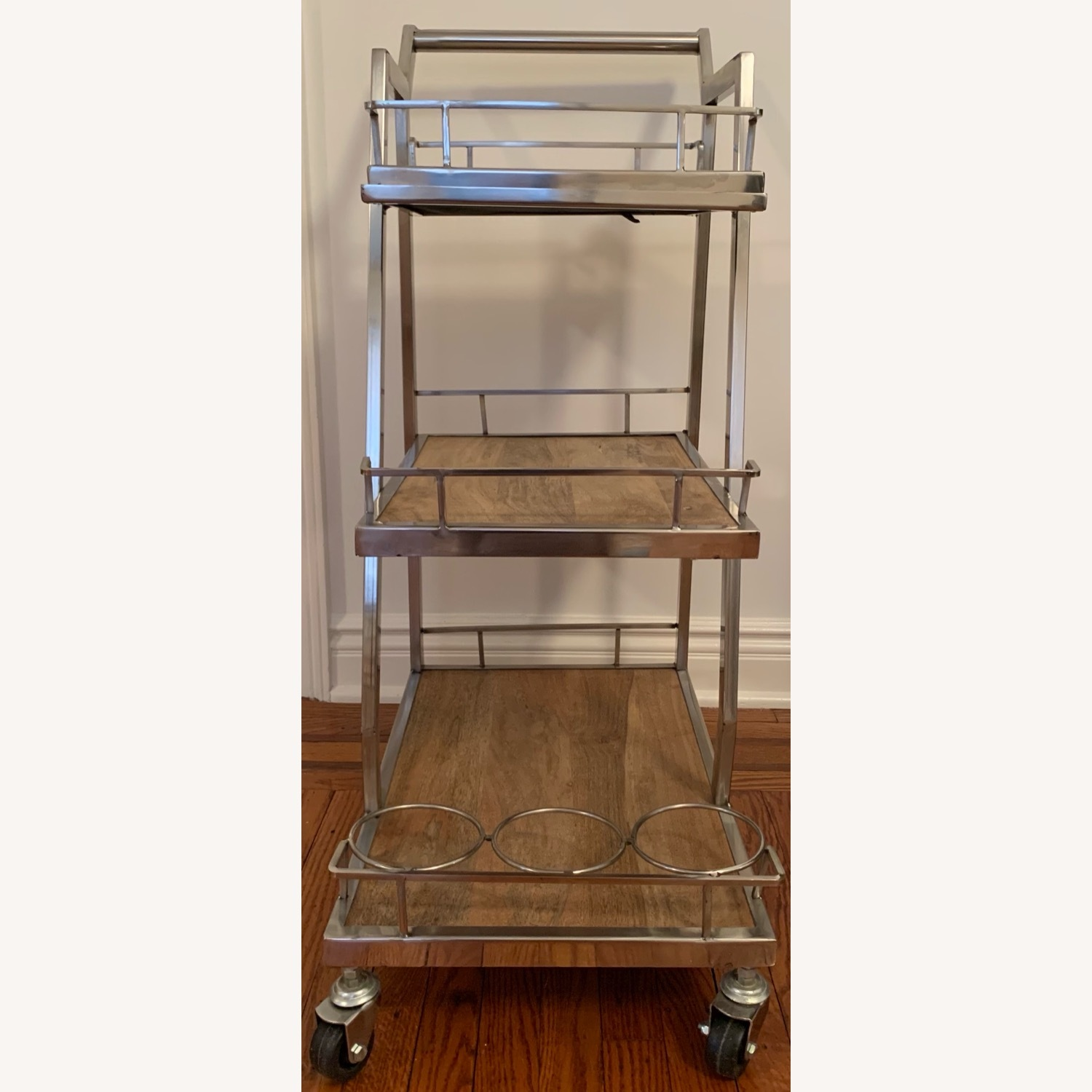 3 Tier Silver And Wood Bar Service Cart - image-7