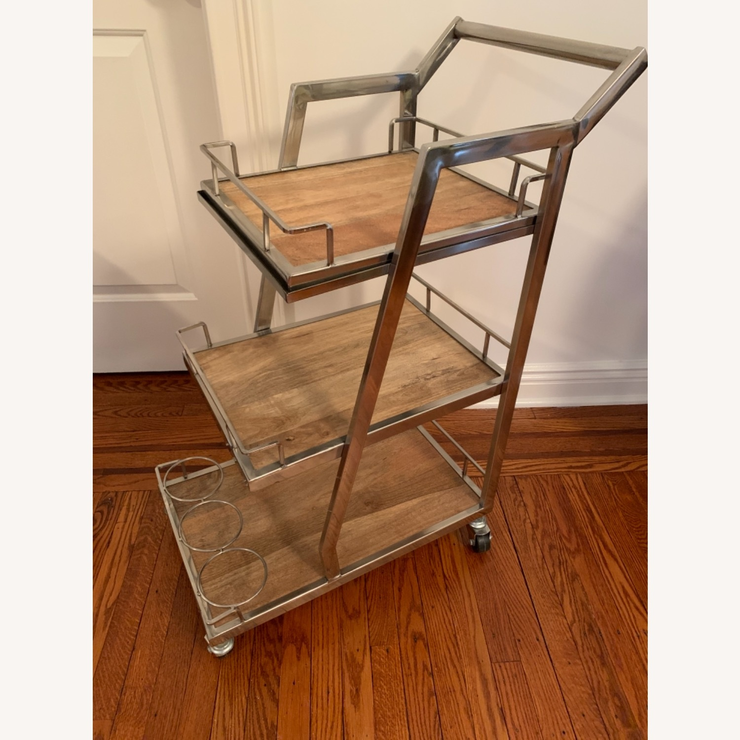 3 Tier Silver And Wood Bar Service Cart - image-1