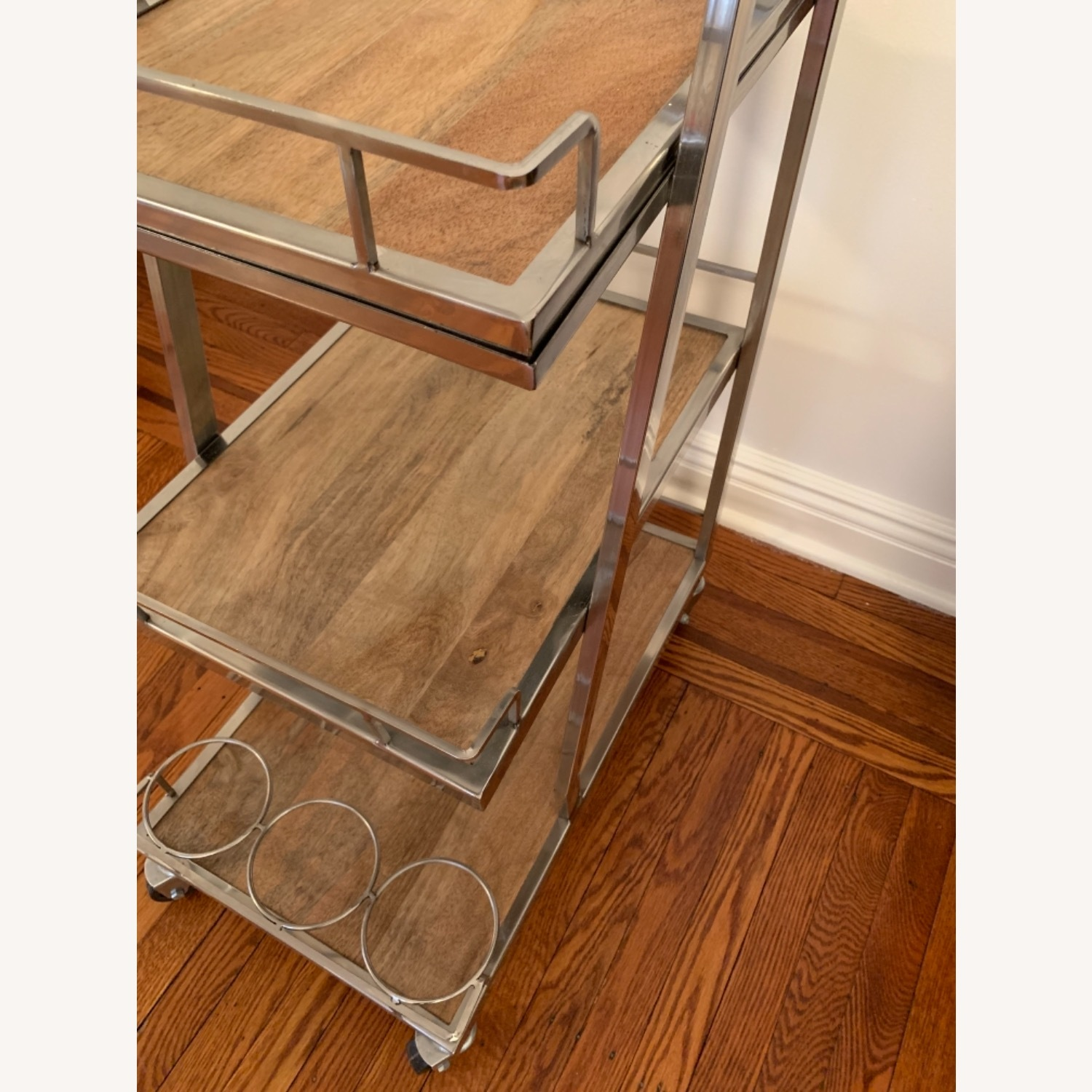 3 Tier Silver And Wood Bar Service Cart - image-3