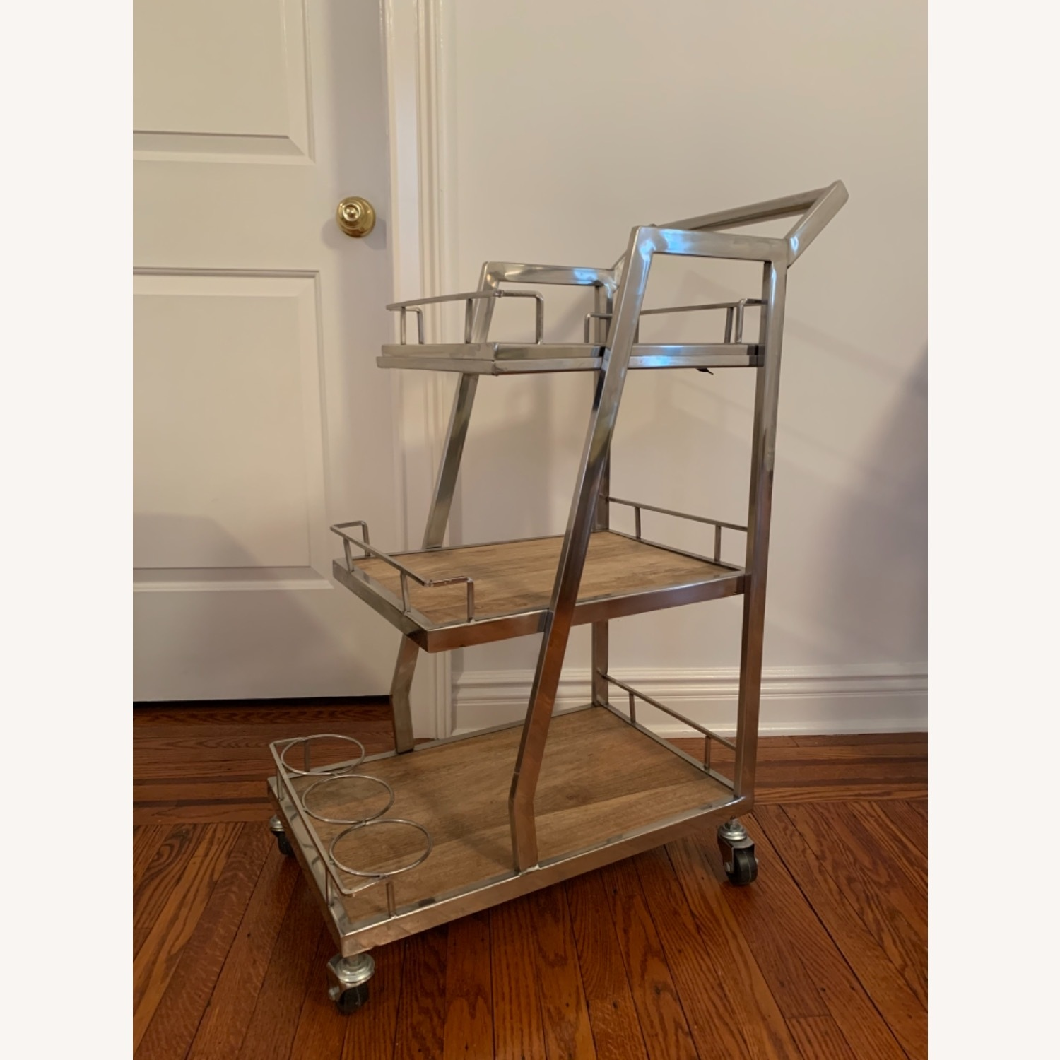 3 Tier Silver And Wood Bar Service Cart - image-2