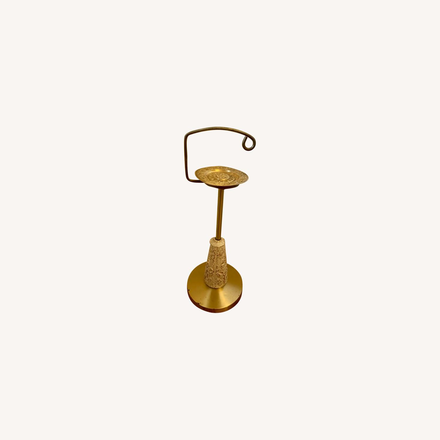 Vintage Brass, Ceramic and Gold Stand - image-0