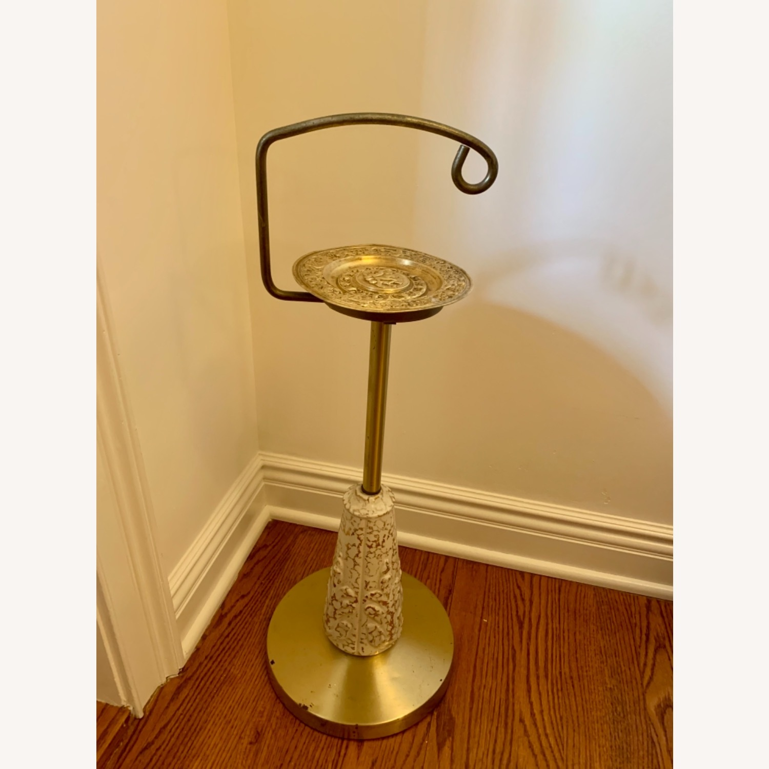 Vintage Brass, Ceramic and Gold Stand - image-1
