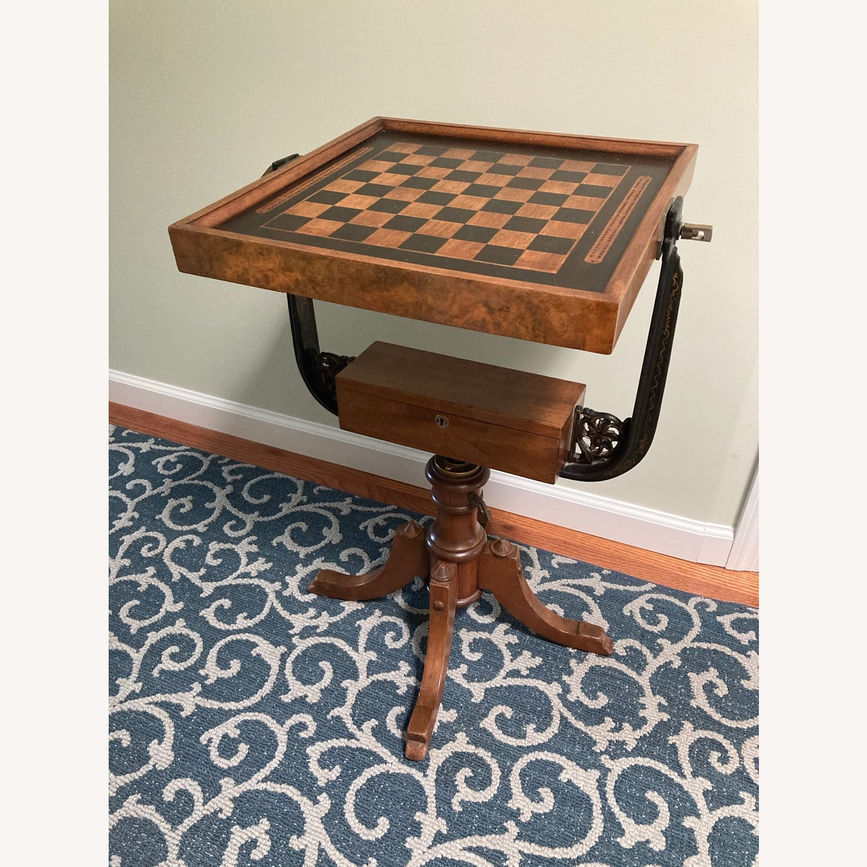 Chess - Backgammon -Cribbage Table Vintage - image-1