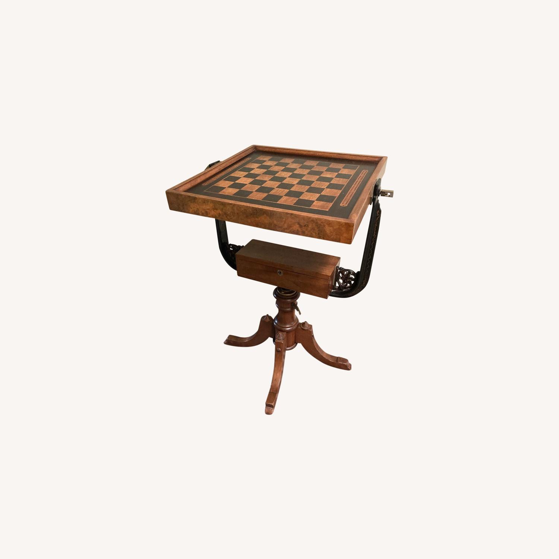 Chess - Backgammon -Cribbage Table Vintage - image-0