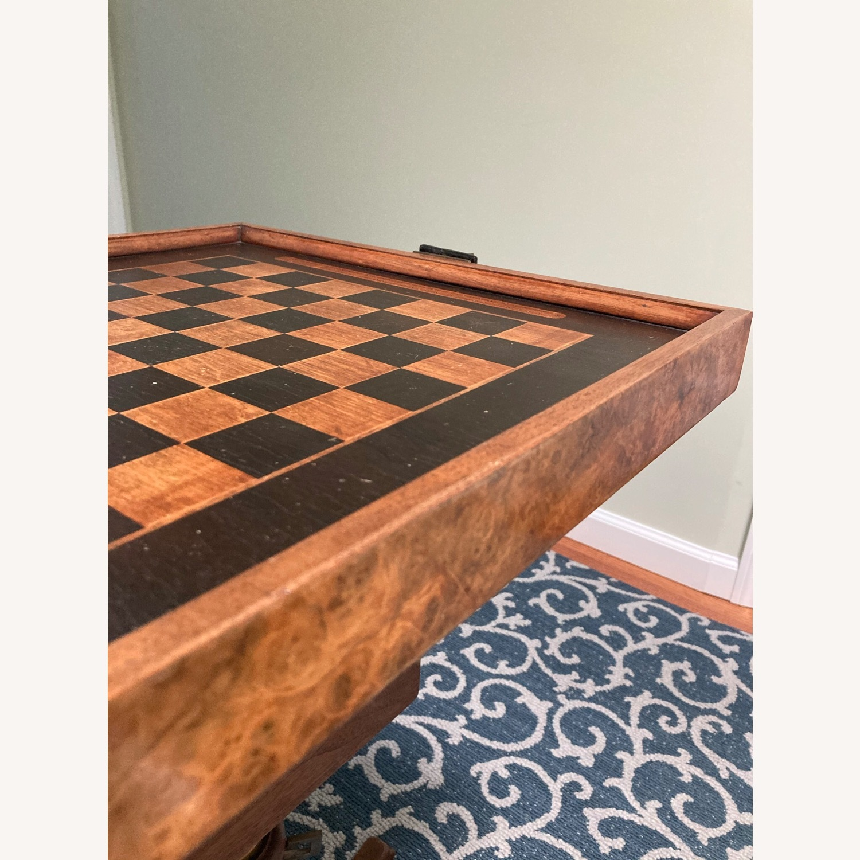 Chess - Backgammon -Cribbage Table Vintage - image-10