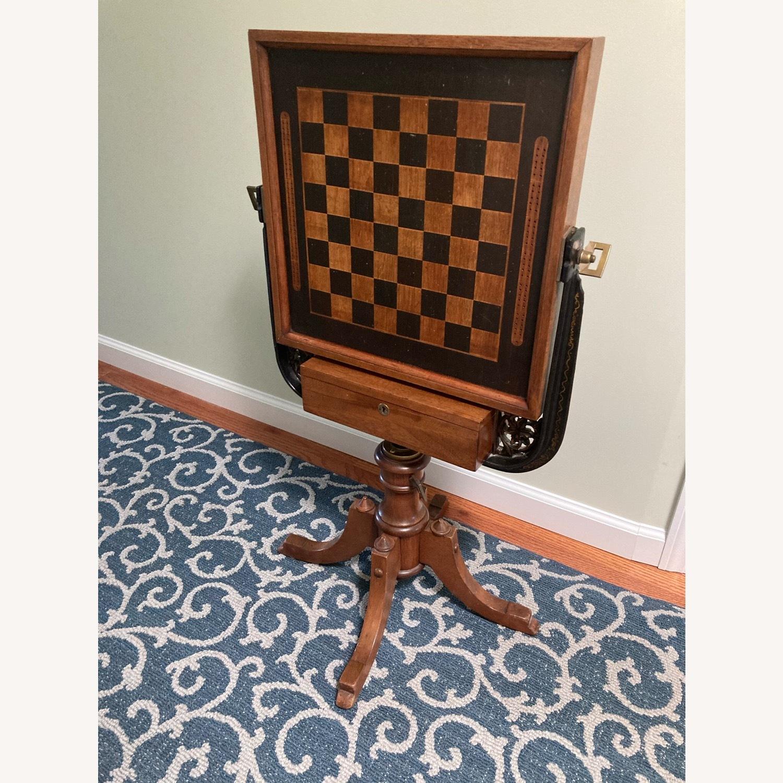 Chess - Backgammon -Cribbage Table Vintage - image-11