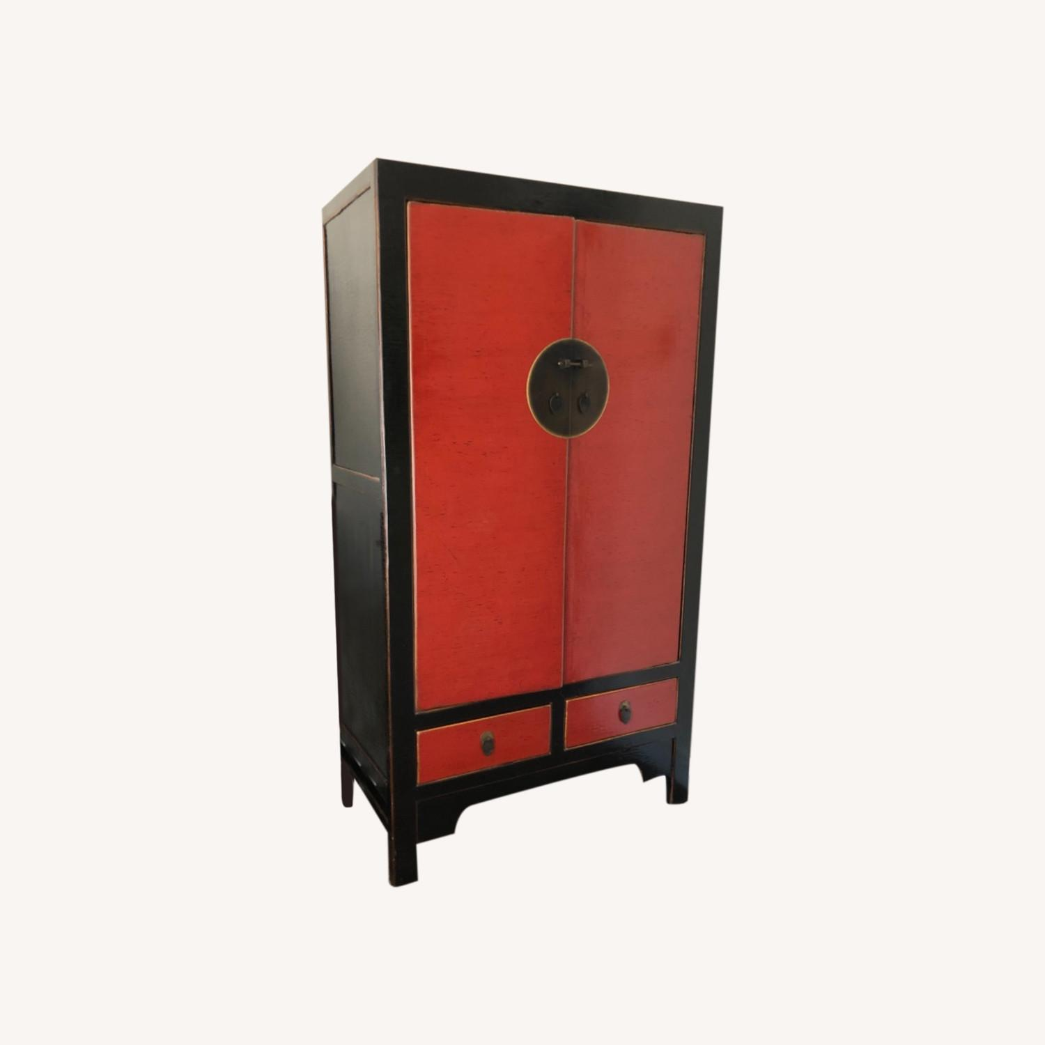 Chinese Black and Red Armoire - image-0