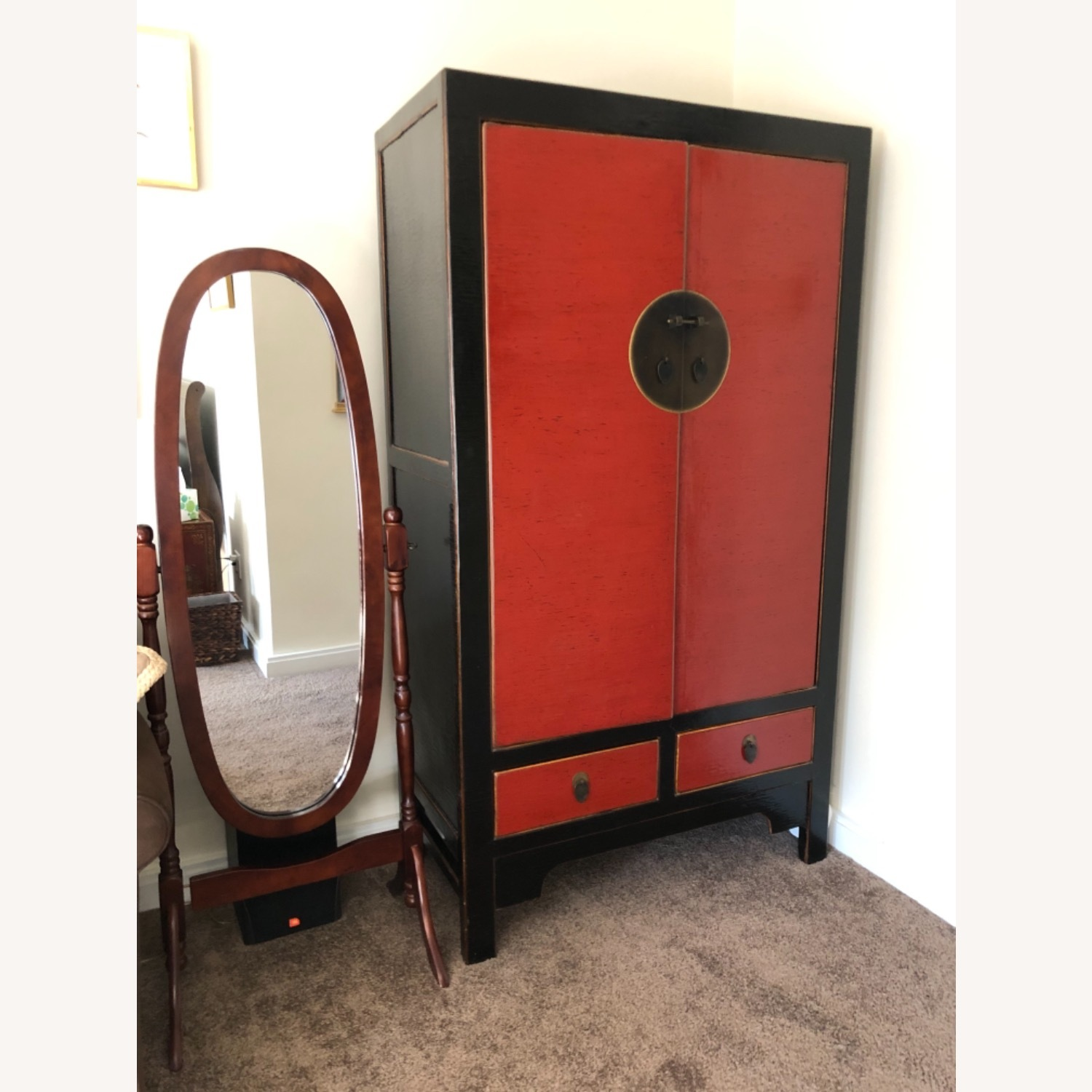Chinese Black and Red Armoire - image-1