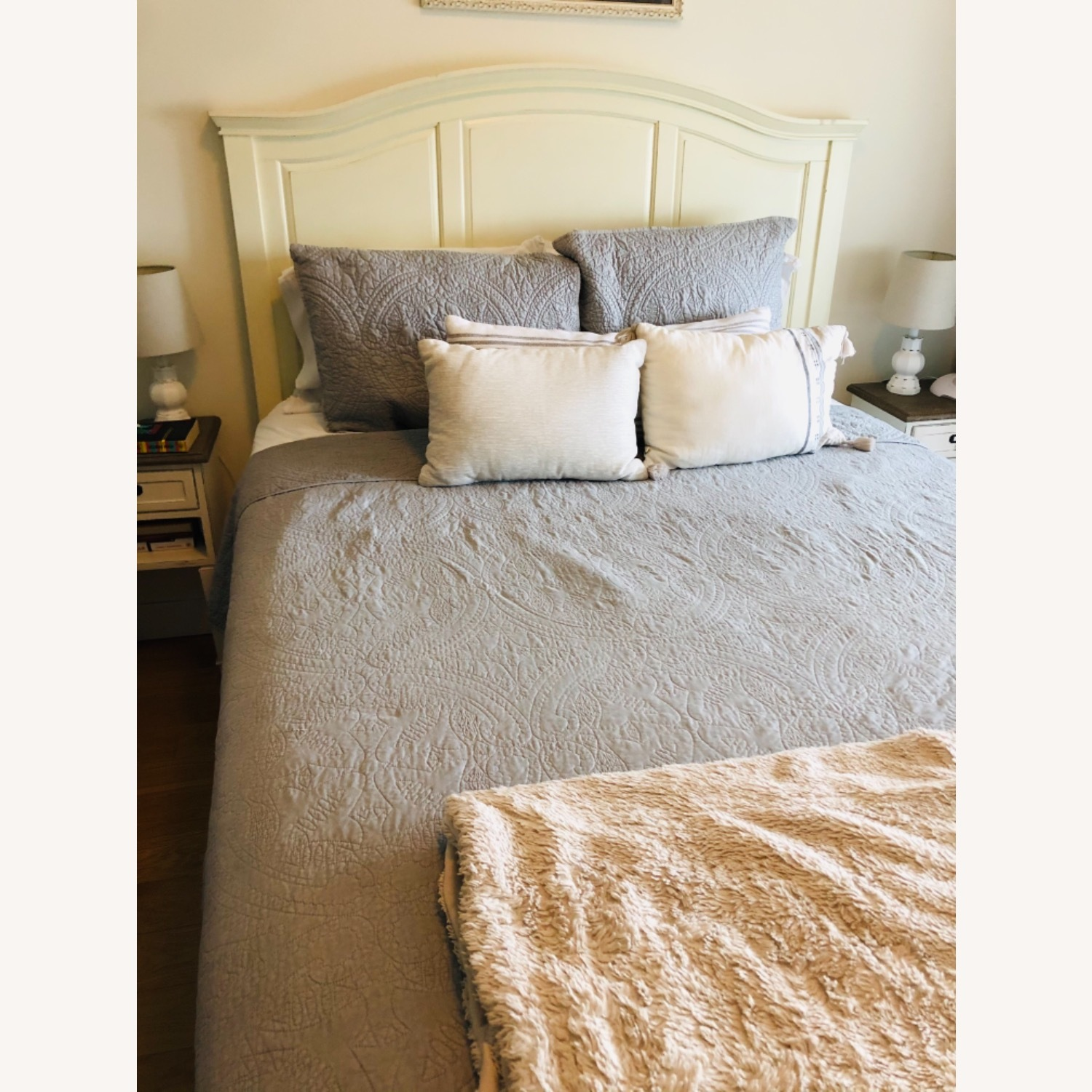 Pottery Barn Queen Sized Headboard (Off-White) - image-2