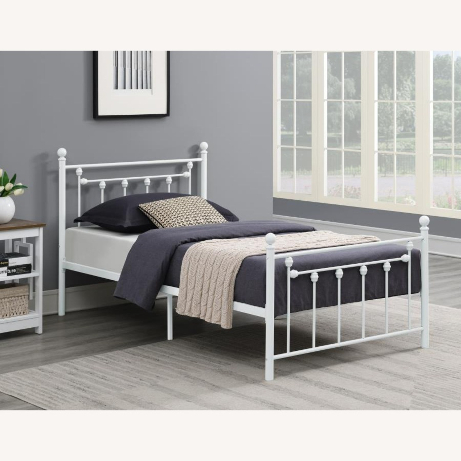 Full Bed In Matte White Powder Coated Finish - image-2