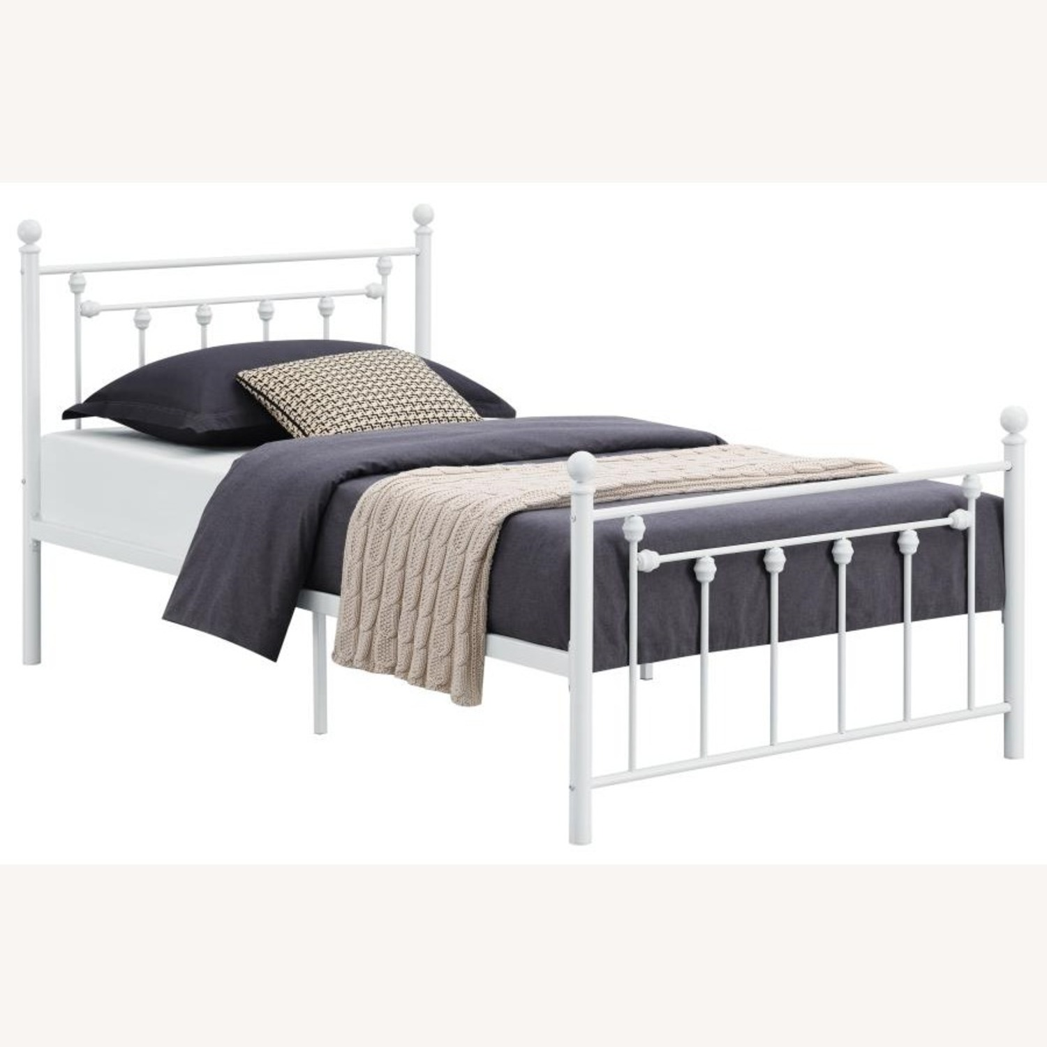Full Bed In Matte White Powder Coated Finish - image-0